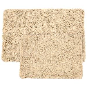 Shag Ivory 21 in. x 32 in. Memory Foam 2-Piece Bath Mat Set