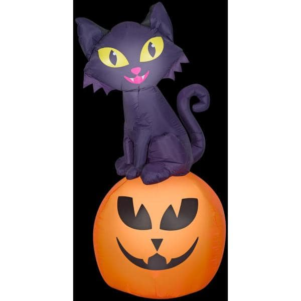 Gemmy 5 5 Ft H Cat On Pumpkin Sm Scene Halloween Inflatable G 222679 The Home Depot