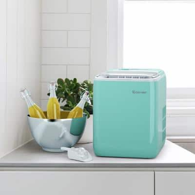 10.5 in. 44 lbs./24H Portable Ice Maker Self-Clean with Scoop in Mint Green