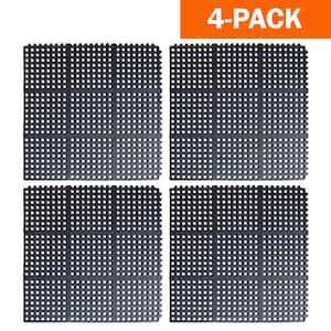 Indoor/Outdoor Anti-Fatigue 36 in. x 36 in. Commercial Home Restaurant Bar Rubber Interlocking Floor Mats (4-Pack)