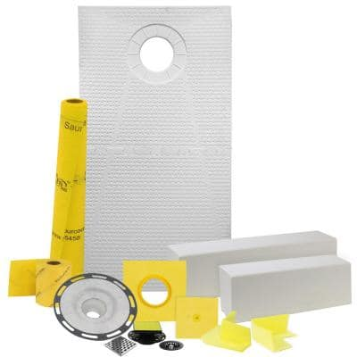 Pro GEN II 32 in. x 60 in. Tile Shower Waterproofing Kit with Offset Drain and ABS Flange