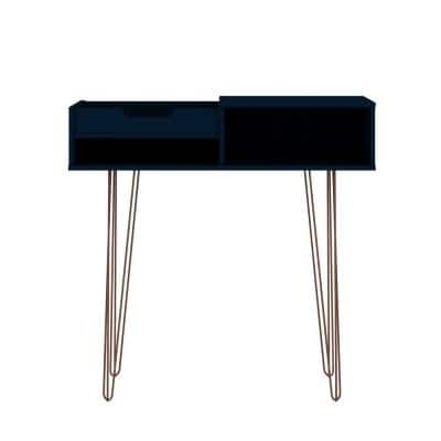 Rockefeller 40 in. Tatiana Midnight Blue Standard Rectangle Composite Console Table with Storage