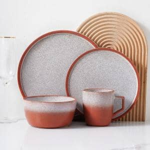 Red Vince Rustic Stoneware Dinnerware Set (Service for 4)