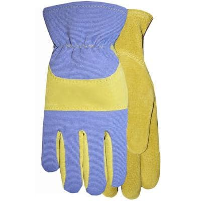Sewn in USA Leather Glove with Periwinkle Spandex