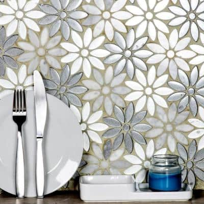 Flower Illusion Gray & Calacatta Mosaic 12 in. x 12 in. Glass and Stone Wall Tile (11 sq.ft./box)