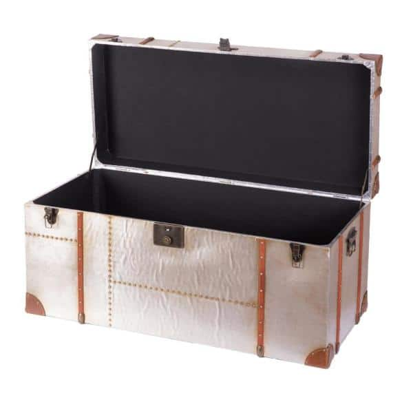 Vintiquewise Industrial Wooden Aluminum Storage Trunk With Lockable Latches Large Qi003506 L The Home Depot