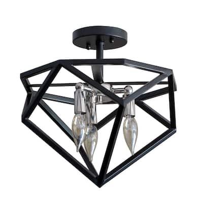 Alexa 3-Light Black Semi-Flush Mount Light