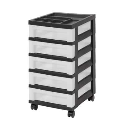 14.25 in. L x 12.05 in. W x 22.25 in. H 5-Drawer Storage Cart with Organizer Top in Black and Pearl