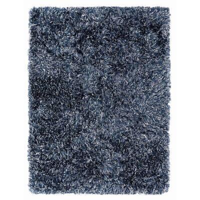 Microfiber Polyester Lurex Shag Indigo Blue 5 ft. x 7 ft. Elstra Area Rug