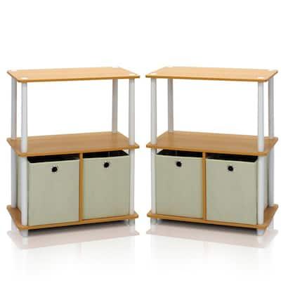 Go Green Beech 3-Shelf Open Bookcase with Bins (2-Pack)