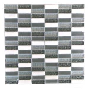 Quartz Walnut Gray & White Rectangle Mosaic 1 in. x 2 in. Glass & Stone Wall & Floor Tile (10.56 Sq. Ft./Case)