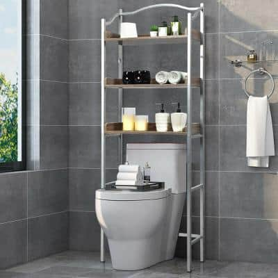 3-Tier Over-The-Toilet Freestanding Bathroom Spacesaver Storage Towel Rack in White