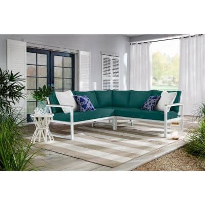 West Park White Aluminum Outdoor Patio Sectional Sofa Seating Set with CushionGuard Malachite Green Cushions