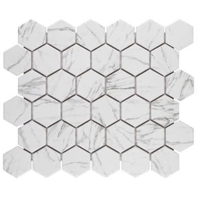 Flo 2 in. Hex 11 in. x 12-1 / 2 in. White Porcelain Mosaic Floor and Wall (9.96 sq. ft. / case)