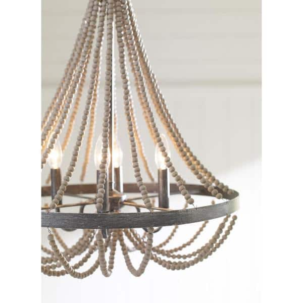 Sea Gull Lighting Oglesby 16 In W 3 Light Stardust Chandelier With Washed Pine Beads 3101903 872 The Home Depot