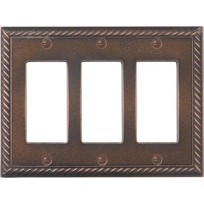 Hampton Bay Cassidy Bronze 3 Gang Gfci Wall Plate 1 Pack Mwp2507 070hd The Home Depot