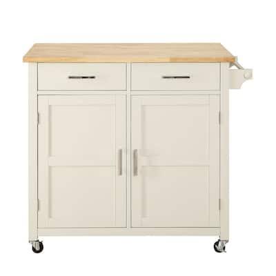 Macie Polar White Kitchen Cart with Natural Wood Top