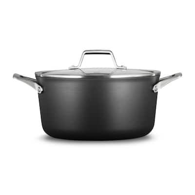 Premier 6 qt. Hard-Anodized Aluminum Nonstick Stock Pot in Black with Glass Lid
