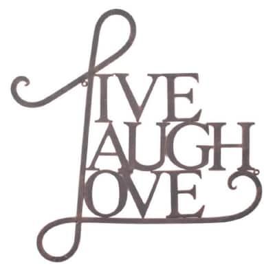 Live, Laugh, Love Metal Brown Decorative Sign Wall Art