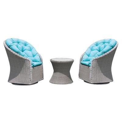 Cesena 3-Piece Swivel Armchair Wicker Outdoor Conversation Set