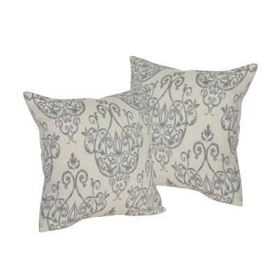 Ankeny Grey and Natural Ornate Print Removable 25 in. x 25 in. Throw Pillow Cover (Set of 2)