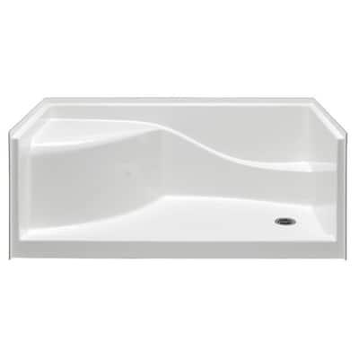Coronado 60 in. x 30 in. Single Threshold Right Drain Shower Pan in White