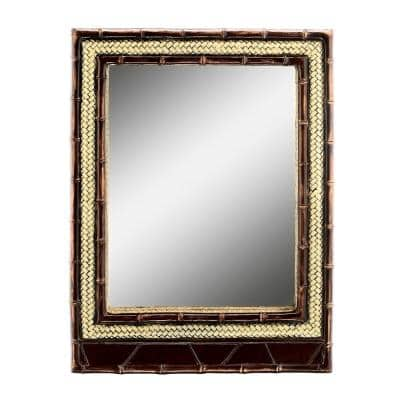Medium Square Brown Classic Mirror (32 in. H x 24 in. W)