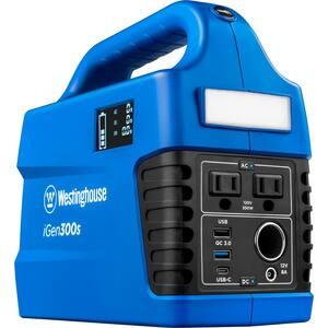 iGen300s 300/600-Watt Pure Sine Wave Lithium-Ion Portable Power Station with Power Inverter, LED Display,  & Flashlight