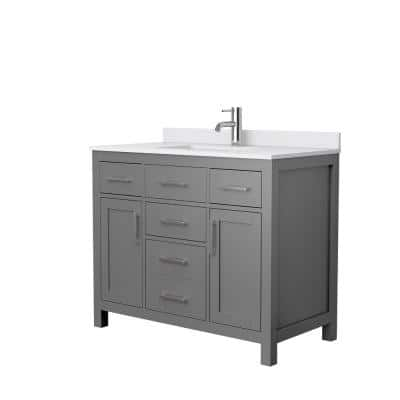 Beckett 42 in. W x 22 in. D Single Vanity in Dark Gray with Cultured Marble Vanity Top in White with White Basin