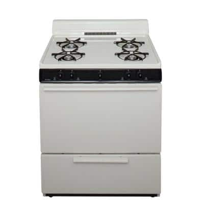 30 in. 3.91 cu. ft. Battery Spark Ignition Gas Range in Biscuit with Black trim