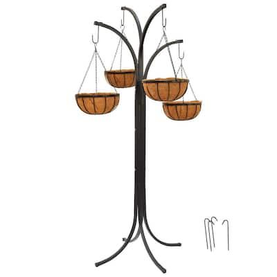 74.5 in. Metal Coconut Basket Hanging Tree (5-Piece)