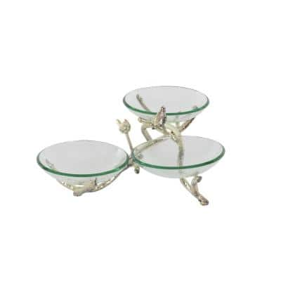 9 in. x 22 in. Three Green Glass Bowls on Silver Twig Stand