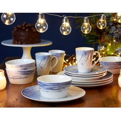 Hanabi Blue/White Porcelain 12-PieceDinnerware Set (Service for 4)