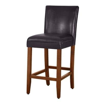 Luxury Brown Faux Leather 29 in. Bar Height Barstool