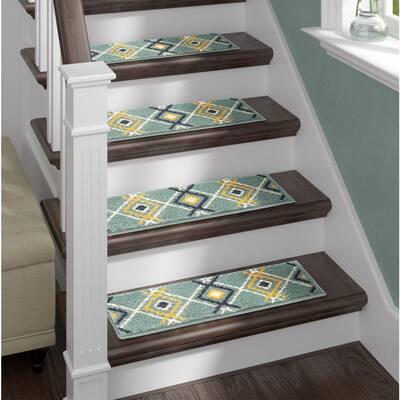 Green 9 in. x 28 in. Stair Treads Polypropylene, Carpet Stair Tread Cover (Set of 13) Non-Slip Stair Treads