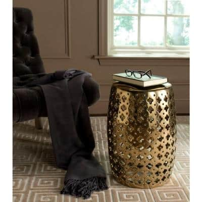 Lacey Plated Gold Ceramic Garden Stool