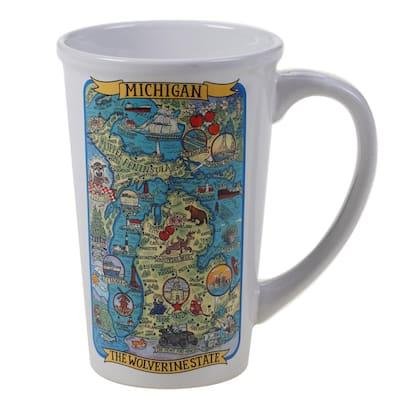 Michigan Souvenir 22 oz. Multicolored Stoneware Jumbo Mug (Set of 6)