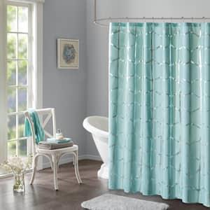Khloe 72 in. x 72 in. Aqua/Silver Microfiber Printed Metallic Shower Curtain