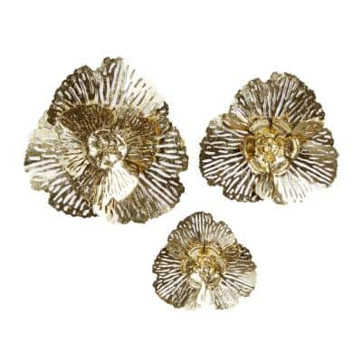 29 in. x 28 in. Gold Metal Glam Wall Decor (Set of 3)