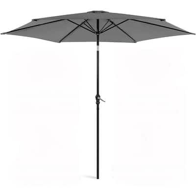 11 ft. Outdoor Patio Garden Canopy Backyard Market Umbrella in Gray Steel Manual Tilt with Crank Height Adjustment