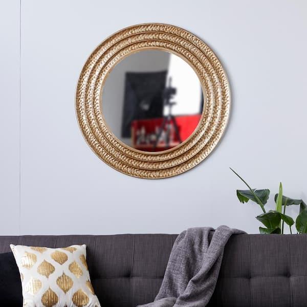 Litton Lane Large Round Gold Metal, X Large Round Gold Mirror