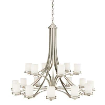Hendrik 18-Light Brushed Nickel 2-Tier Chandelier with Satin Etched Glass Shade