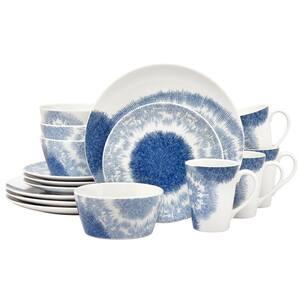 Aozora Blue/White Porcelain 16-PieceDinnerware Set (Service for 4)
