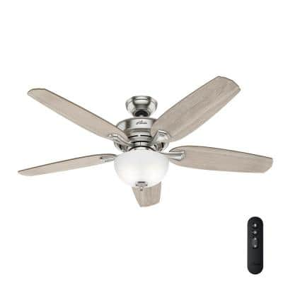 Channing 54 in. LED Indoor Easy Install Brushed Nickel Ceiling Fan with HunterExpress Feature Set and Remote