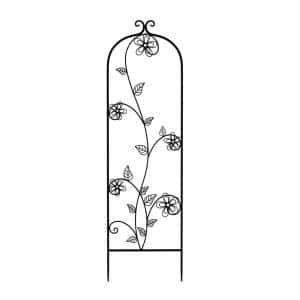 49 in. Decorative Flower Stem Design Metal Garden Trellis for Climbing Plants in Black