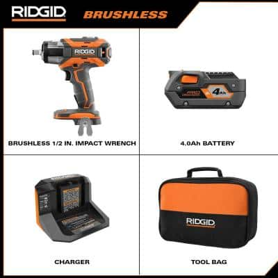 18V OCTANE Lithium-Ion Cordless Brushless Mid Torque Compact Impact Wrench Kit with  4 Ah Battery, 18V Charger, and Bag