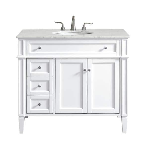 40 In W X 21 5 In D X 21 5 In H Single Bathroom Vanity In White With White Marble Vanity Top And White Basin Th25040white The Home Depot
