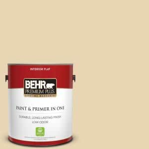 Behr Premium Plus 1 Gal Icc 93 Champagne Gold Flat Low Odor Interior Paint And Primer In One 105001 The Home Depot