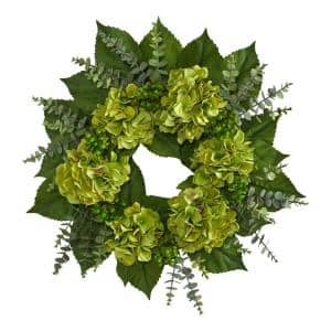 24 in. Hydrangea and Eucalyptus Artificial Wreath