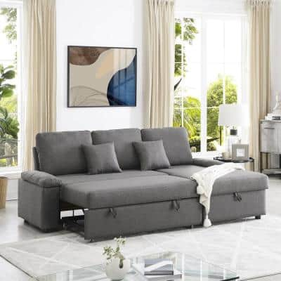 86.61 in. Dark Gray Microfiber 4-Seats Sectional Sleeper Sofa with Storage Chaise
